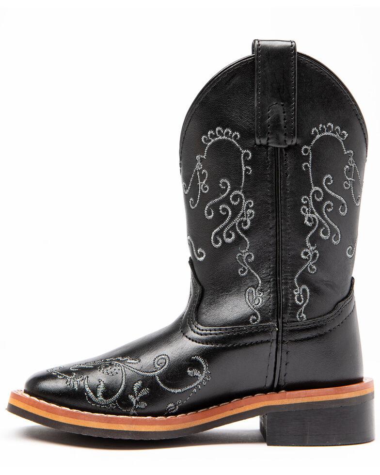 Shyanne Girls' Black Floral Western Boots - Square Toe, Black, hi-res