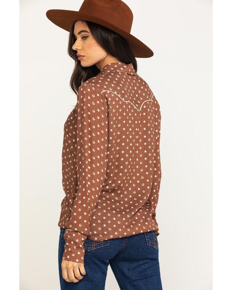 Stetson Women's Brown Lucky Star Print Long Sleeve Western Shirt, , hi-res