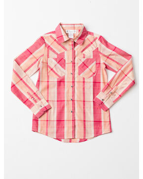 Shyanne Girls' Lurex Woven Plaid Long Sleeve Shirt , Coral, hi-res