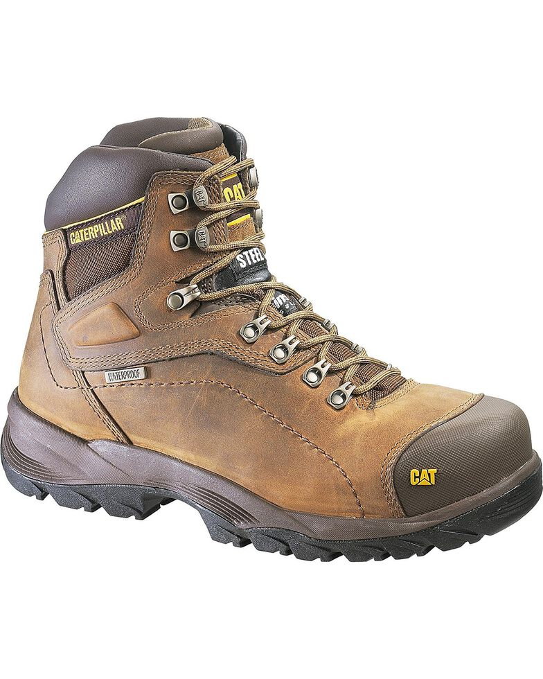 "Caterpillar Diagnostic Waterproof & Insulated 6"" Lace-Up Work Boots - Steel Toe, Dark Khaki, hi-res"