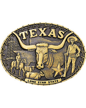 Montana Silversmiths Texas Cowboys State Heritage Attitude Belt Buckle, Gold, hi-res