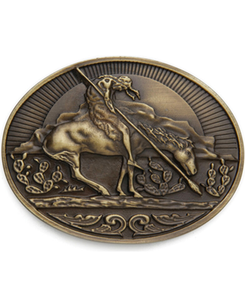 AndWest Men's End of the Trail Belt Buckle, Brass, hi-res