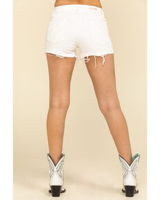 Shyanne Women's White Raw Hem Sunrise Shorts, White, hi-res
