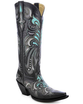 Corral Women's Filigree Embroidered Tall Western Boots, Black, hi-res