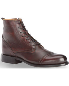 El Dorado Men's Handmade Black Cherry Leather Urban Lacer Boots - Round Toe, Black Cherry, hi-res