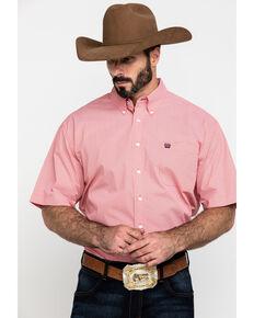 Cinch Men's Coral Geo Print Short Sleeve Western Shirt , Coral, hi-res