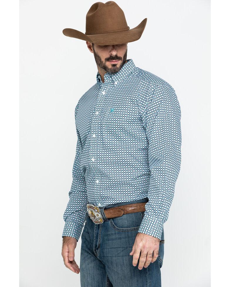 Ariat Men's Wrinkle Free Porterville Aztec Geo Print Long Sleeve Western Shirt - Tall , White, hi-res