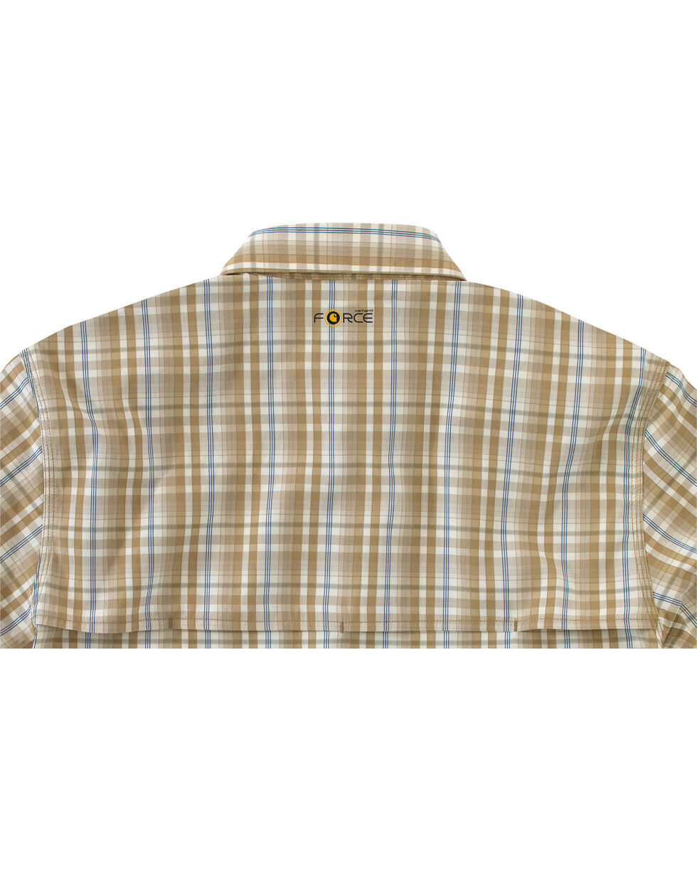 Carhartt Men's Force Plaid Short Sleeve Shirt, Khaki, hi-res