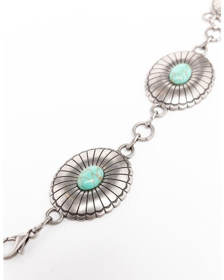 Shyanne Women's Turquoise Concho Link Belt, Silver, hi-res