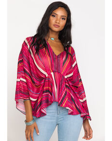 Flying Tomato Women's Lurex Stripe Flutter Top, Magenta, hi-res