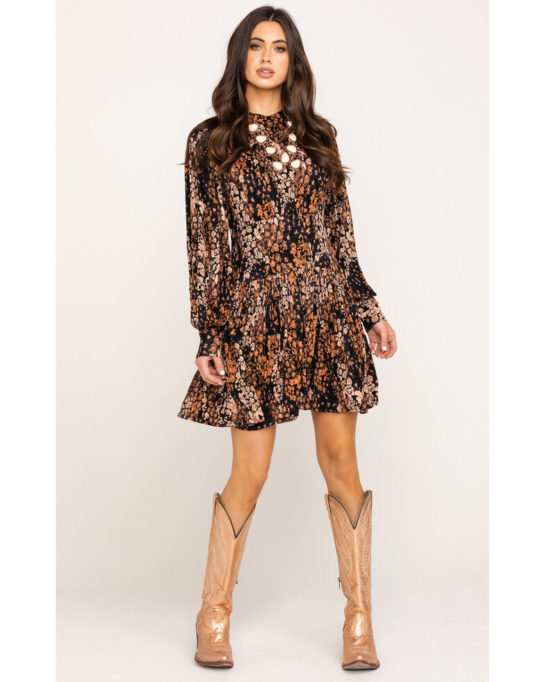 Free People Women's Abstract Print Heartbeats Mini Dress, Black, hi-res