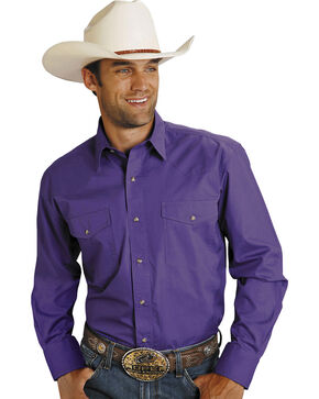 Roper Purple Poplin Western Shirt, Purple, hi-res