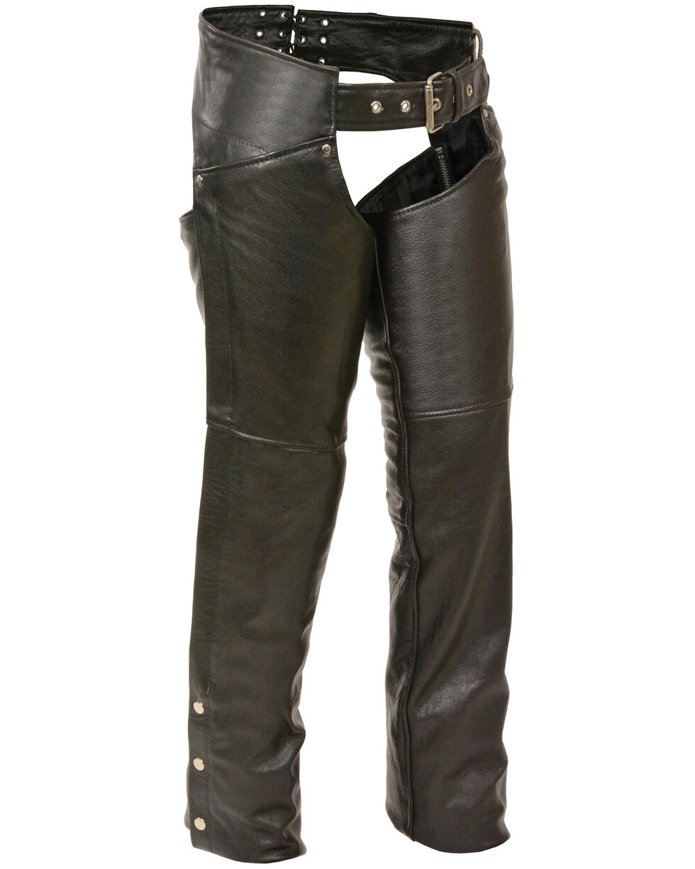 Milwaukee Leather Women's Classic Hip Chaps - 5X, Black, hi-res