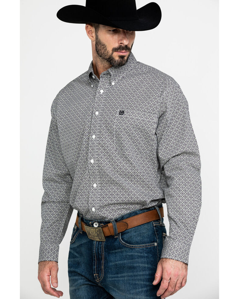 Cinch Men's Multi Mini Square Geo Print Long Sleeve Western Shirt , Purple, hi-res