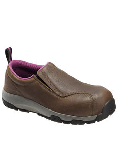 Nautilus Women's Slip-On Work Shoes - Composite Toe, Brown, hi-res