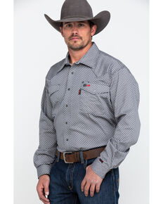 b43d0a60ebfb Cinch Men s Grey FR Geo Print Long Sleeve Work Shirt