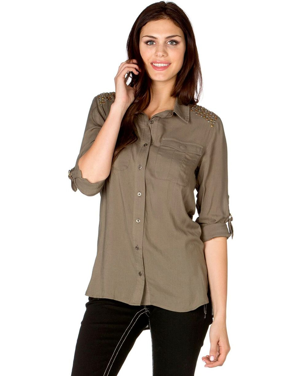 Miss Me Women's Olive Green Shoulder Embellished Woven Top, Olive Green, hi-res