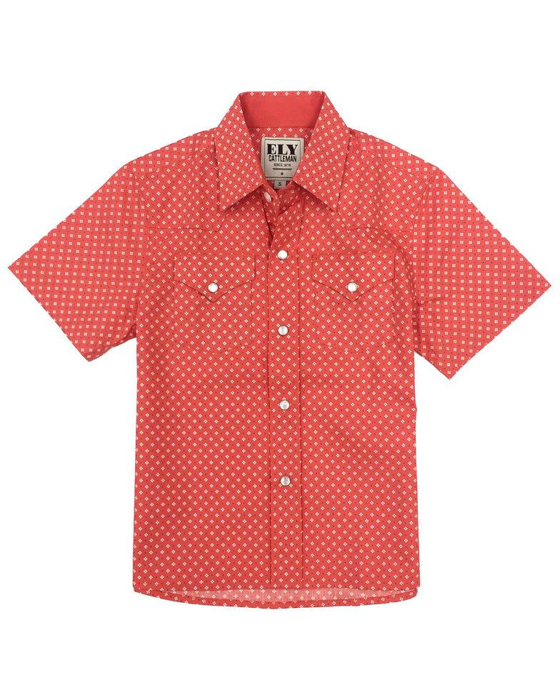 Ely Cattleman Boys' Assorted Geo Print Snap Short Sleeve Western Shirt , Coral, hi-res