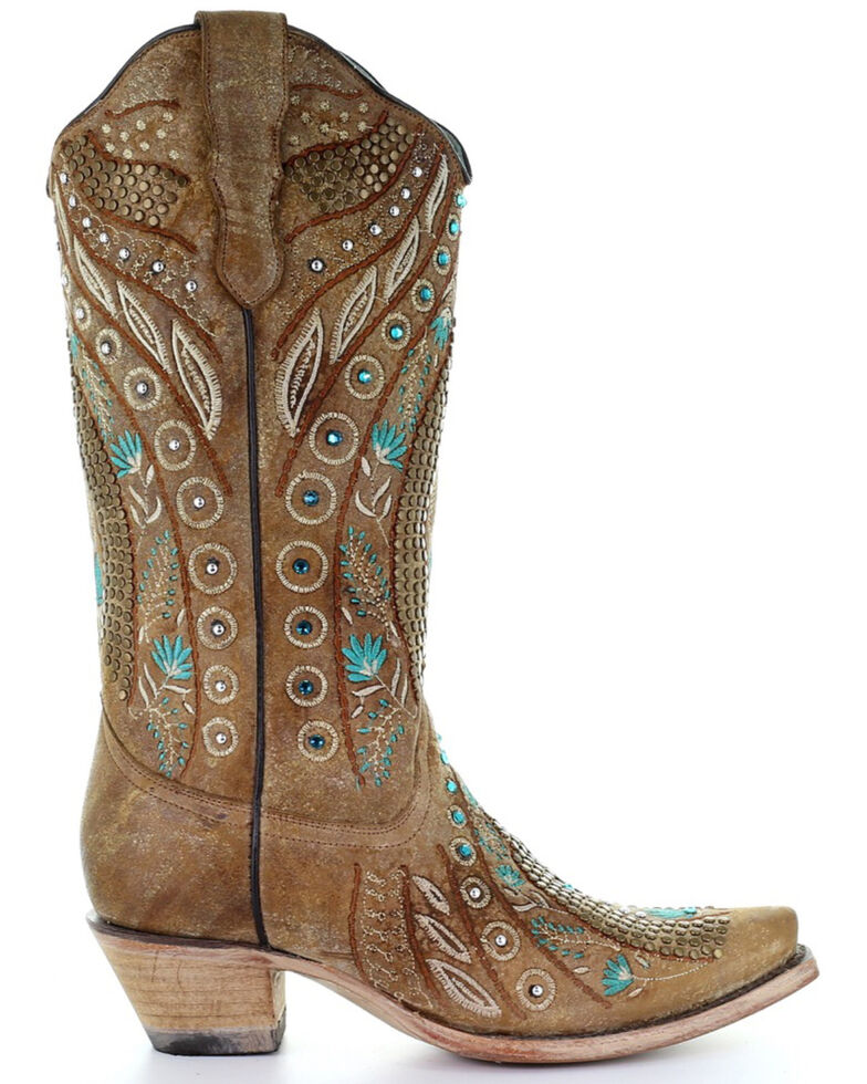 Corral Women's Golden Studs Embroidery Western Boots - Snip Toe, Brown, hi-res