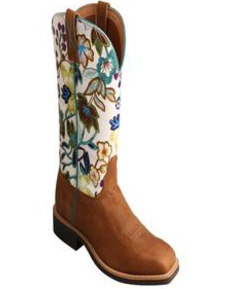 Twisted X Women's Top Hand Floral Western Boots - Wide Square Toe, Tan, hi-res