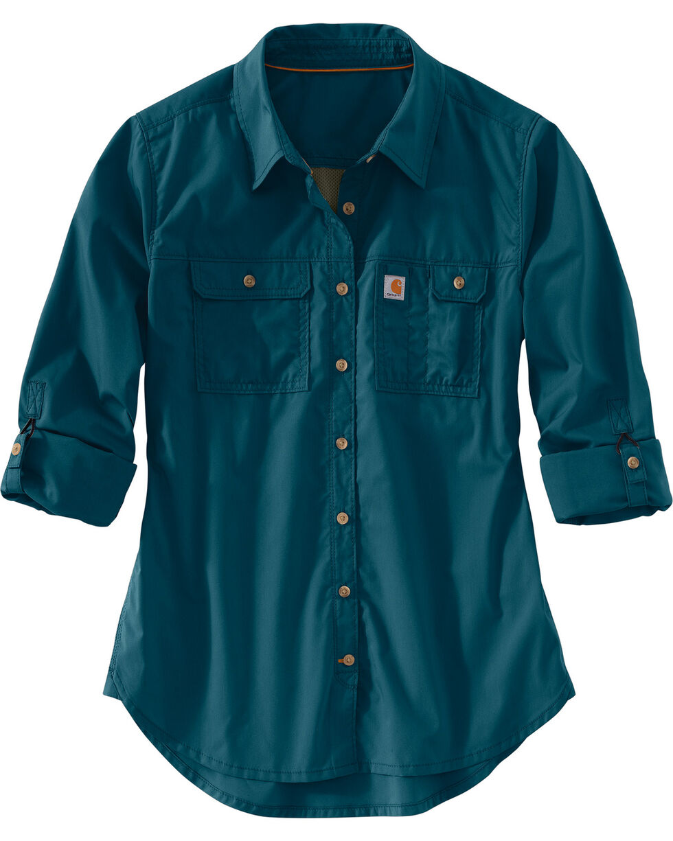 Carhartt Women's Force Ridgefield Shirt , Medium Blue, hi-res