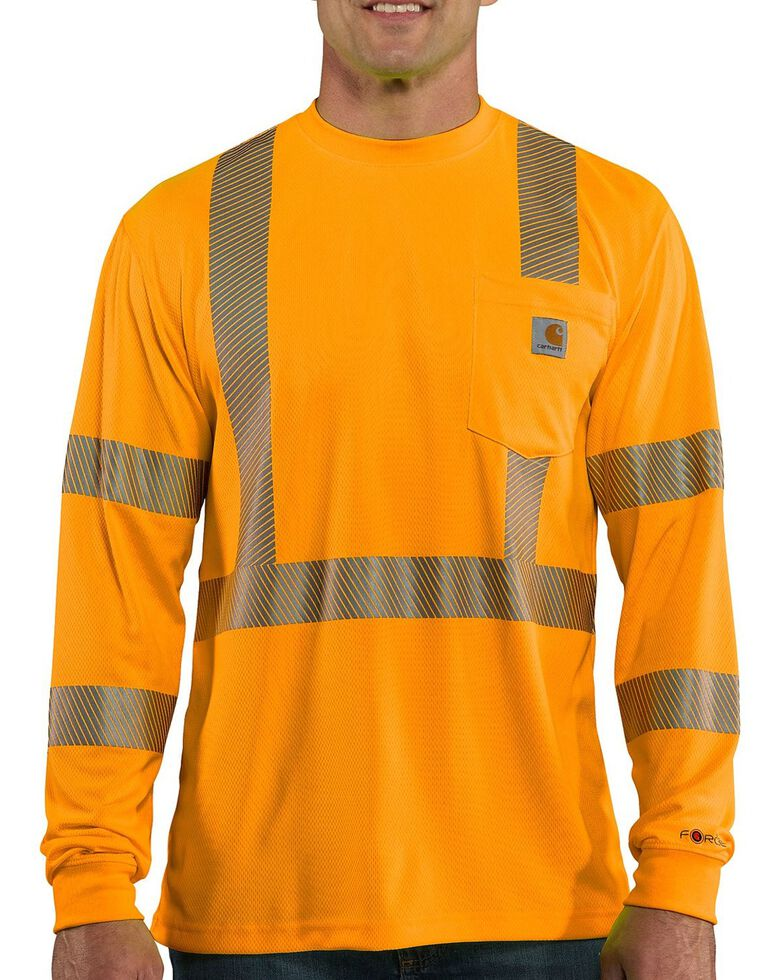 Carhartt Force Men's High-Visibilty Class 3 Long Sleeve Work T-Shirt, Orange, hi-res