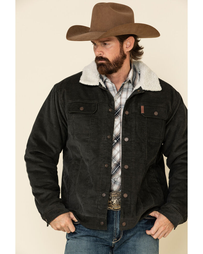 Cinch Men's Charcoal Corduroy Sherpa Trucker Jacket , Charcoal, hi-res