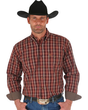 Wrangler George Strait Men's Brown Plaid Western Shirt , Brown, hi-res