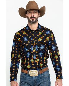 Dale Brisby Men's Aztec Poplin Print Long Sleeve Western Shirt , Black, hi-res
