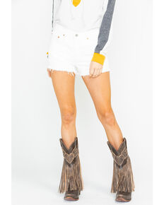 Levi's Women's White Riged High Rise Shorts , White, hi-res