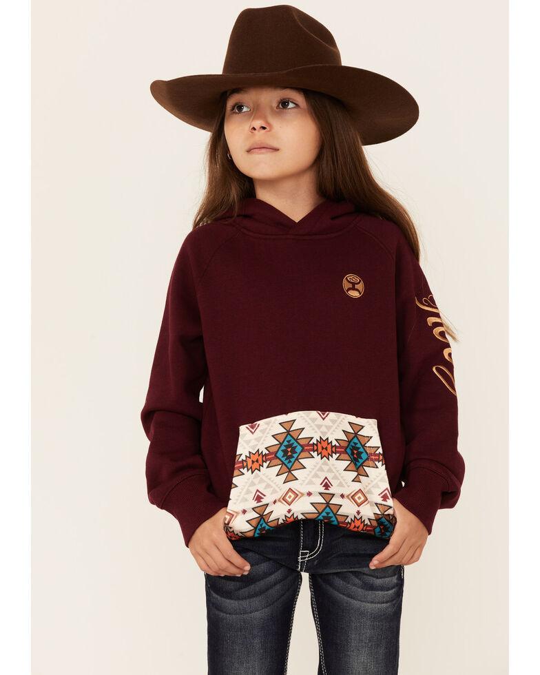 HOOey Girls' Maroon Aztec Print Pullover Hoodie , Maroon, hi-res