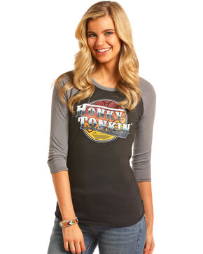Rock & Roll Cowgirl Women's Black Honky Tonkin' Baseball Tee , Black, hi-res