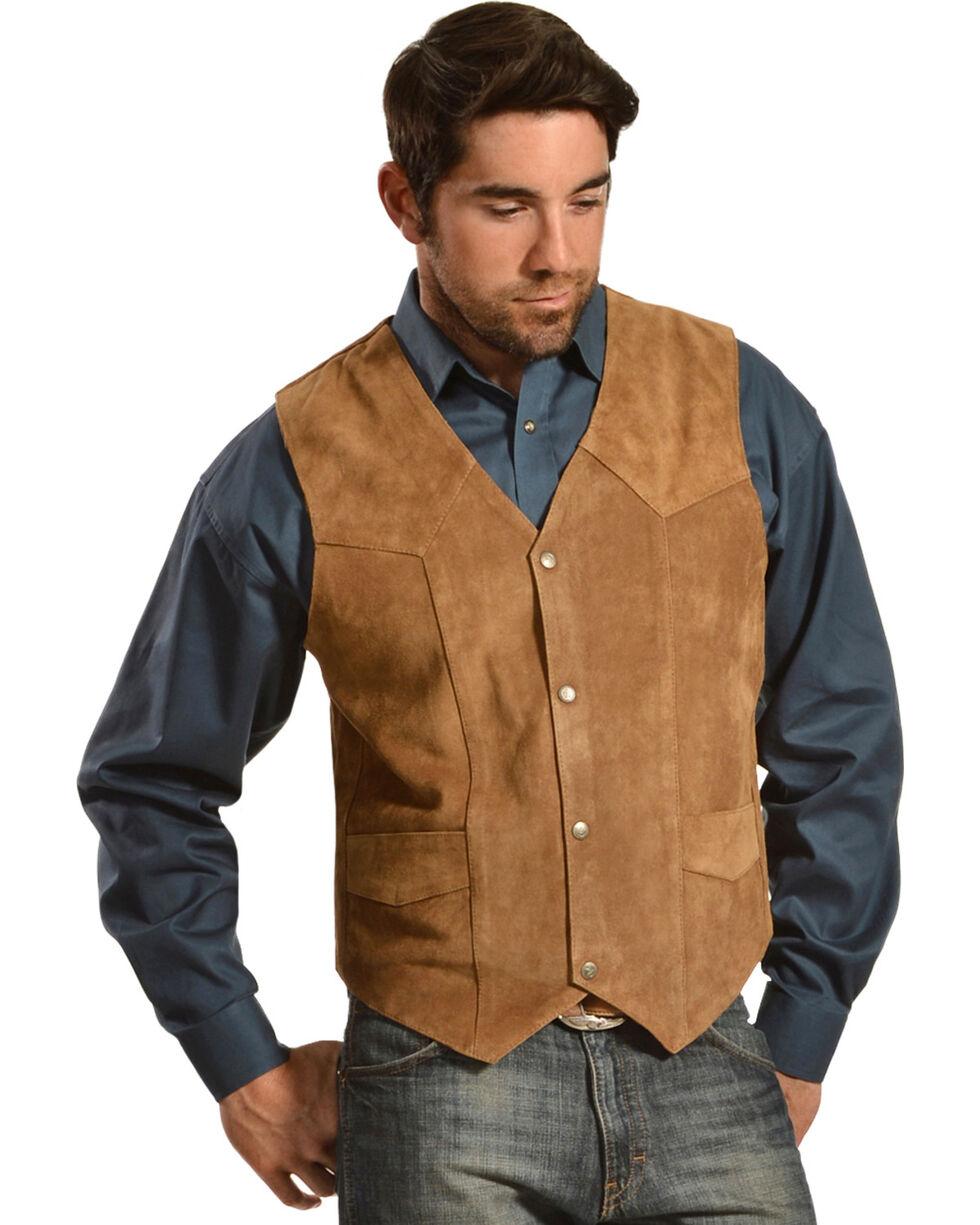 Liberty Wear Men's Suede Western Vest, Brown, hi-res
