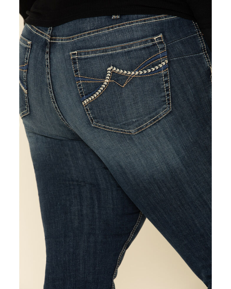 Ariat Women's R.E.A.L Dark Wash Brianne Straight Jeans - Plus, Blue, hi-res