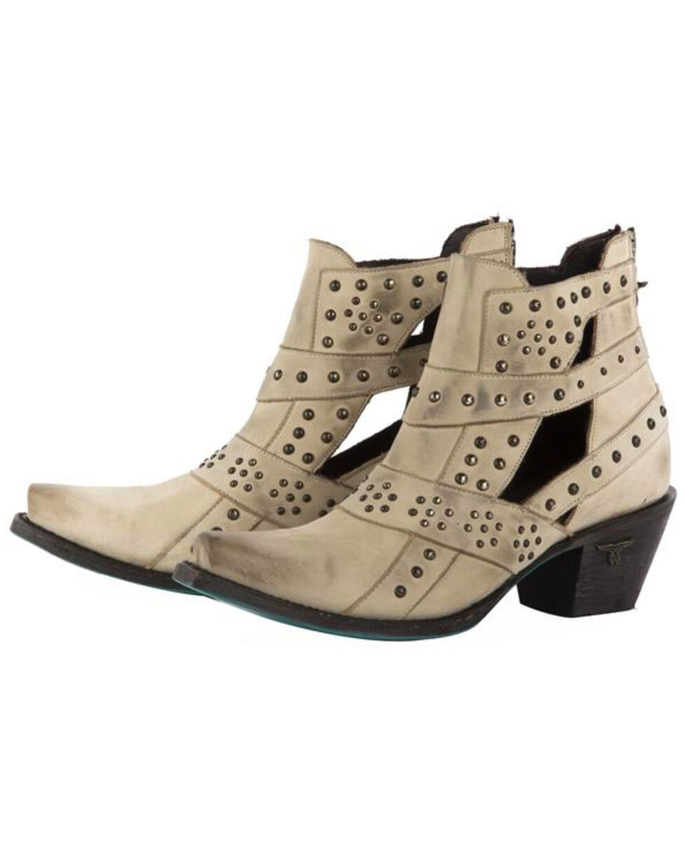 Lane Women's Cream Stud and Straps Fashion Booties - Snip Toe , Cream, hi-res