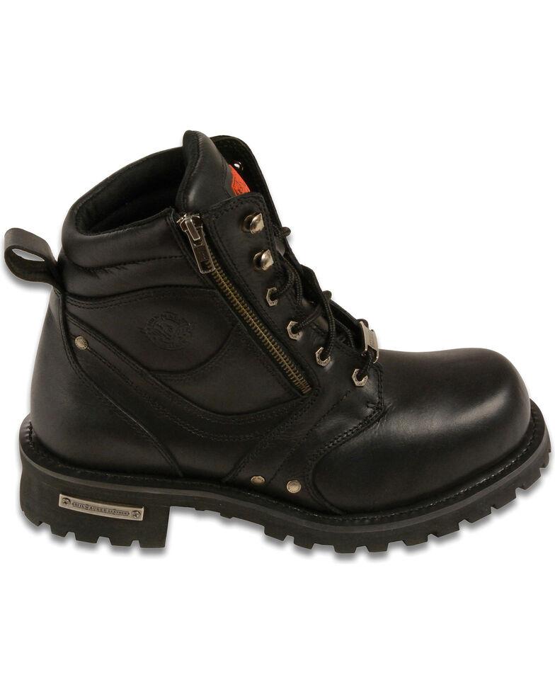 "Milwaukee Leather Men's 6"" Side Zipper Boots - Round Toe, Black, hi-res"