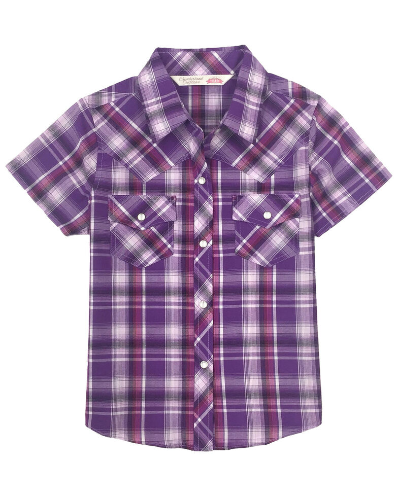 Cumberland Outfitters Girls' Purple Plaid Snap Short Sleeve Western Shirt, Purple, hi-res