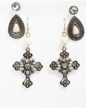 Shyanne Women's White Howlite Multi Earring Set, Silver, hi-res