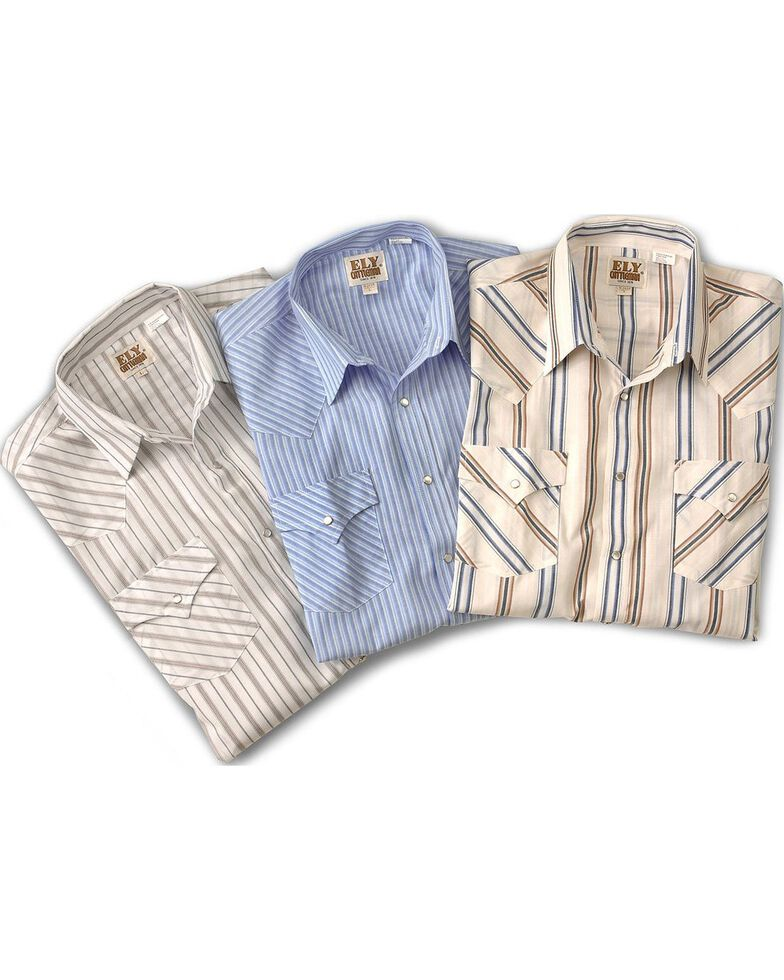 Ely Cattleman Men''s Assorted Plaid or Stripe Short Sleeve Western Shirt , Stripe, hi-res