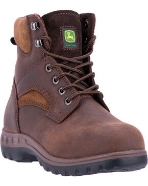 "John Deere Women's 6"" Lace-Up Removable Orthotic Work Boots - Steel Toe , Brown, hi-res"
