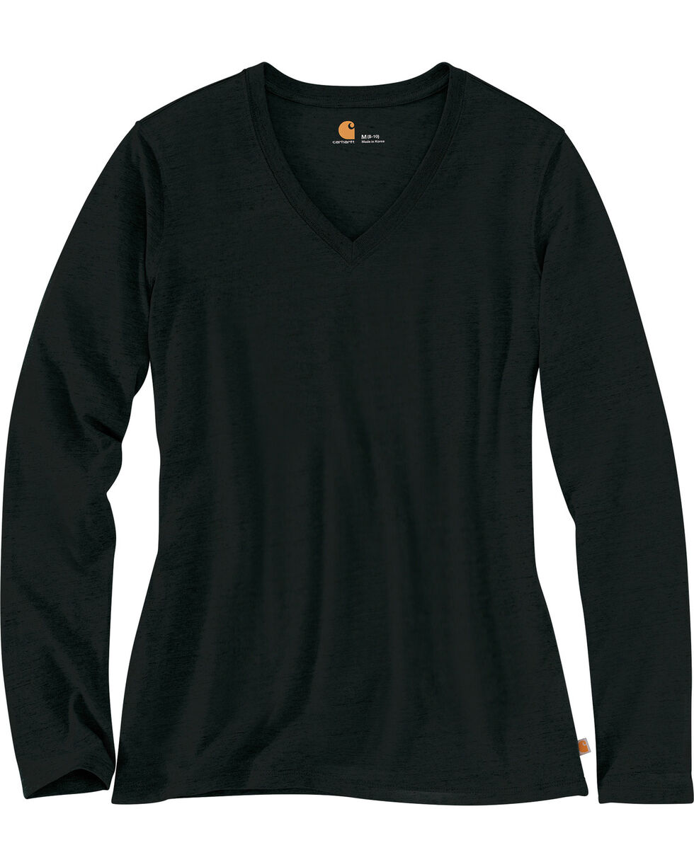 Carhartt Women's Black Lockhart Long Sleeve V-Neck Shirt , Black, hi-res