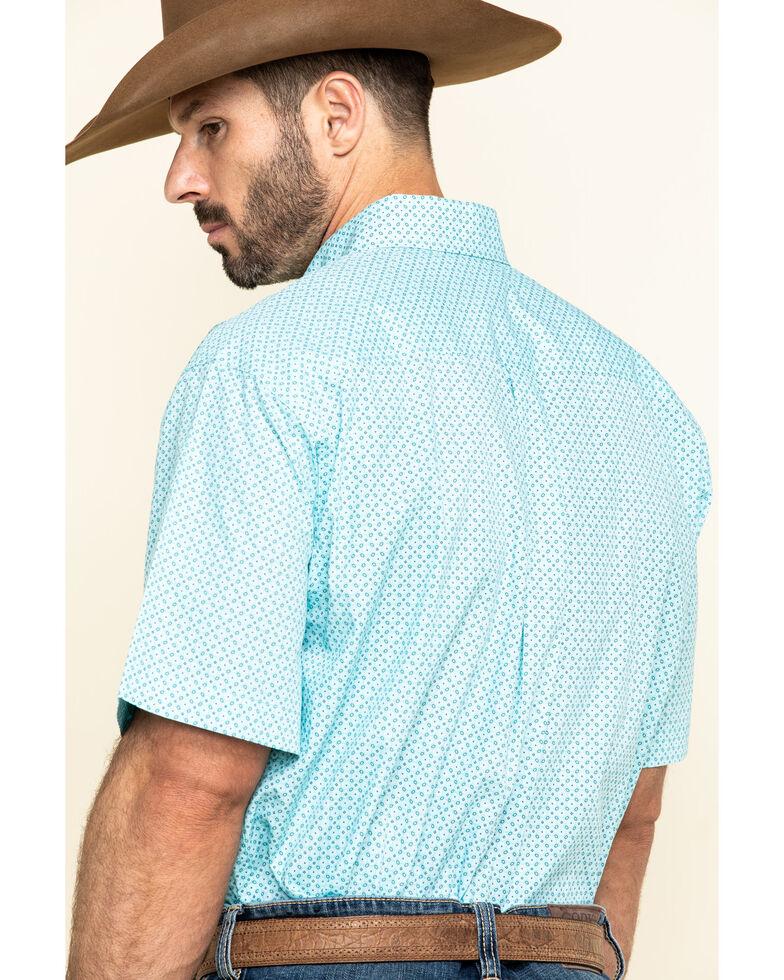 Cinch Men's Light Blue Small Geo Print Short Sleeve Western Shirt , Light Blue, hi-res