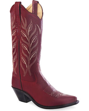 Old West Women's Red Fashion Western Cowboy Boots - Snip Toe, Red, hi-res