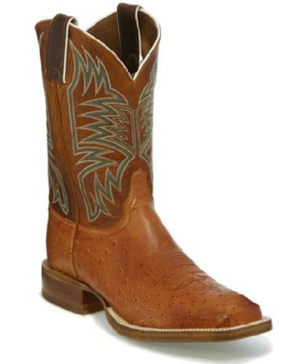 Justin Men's Cognac Smooth Ostrich Western Boots - Wide Square Toe, Cognac, hi-res