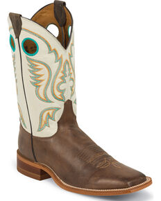 Justin Men's Burnished Ivory Cowboy Boots - Square Toe, Chocolate, hi-res