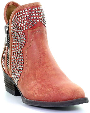 Circle G Women's Orange-Red Studded Booties - Round Toe, Orange, hi-res
