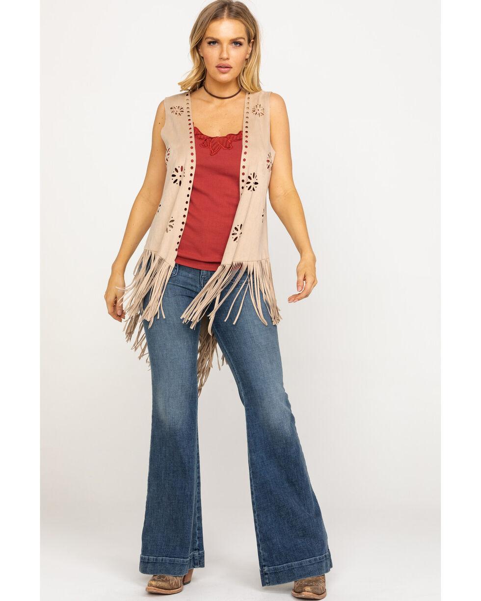 Ariat Women's Camel Faux Suede Shake It Vest, Camel, hi-res