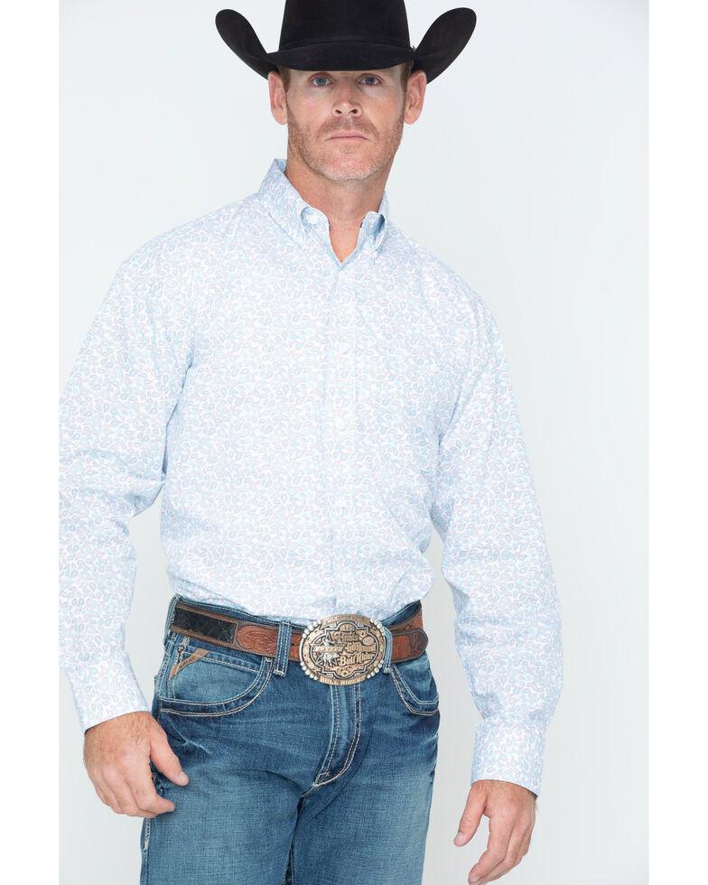 George Strait by Wrangler Men's Multi Paisley Print Long Sleeve Western Shirt , Red/white/blue, hi-res