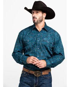 Stetson Men's Mallard Poplin Paisley Print Long Sleeve Western Shirt , Blue, hi-res