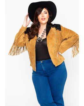Liberty Wear Women's Suede Fringe Studded Jacket - Plus Size, Brown, hi-res